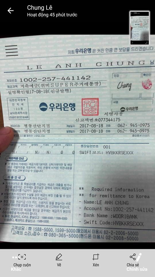Tấm lòng vì quê hương của bà con quê mình ở Hàn Quốc