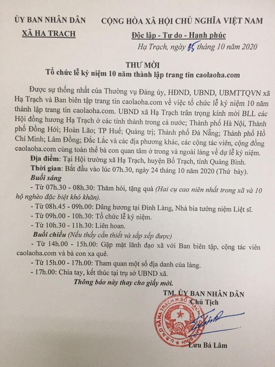 Thư mời của UBND xã Hạ Trạch