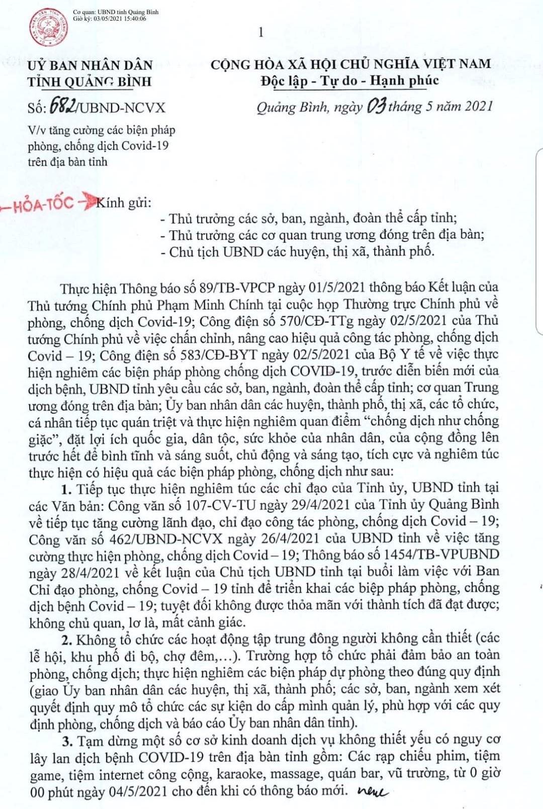 Công văn của UBND tỉnh Quảng Bình