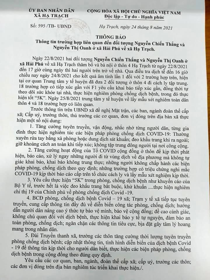 Thông báo của UBND xã Hạ Trạch