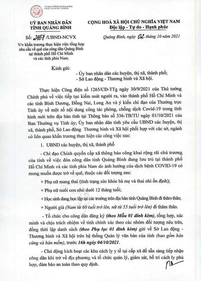 Tỉnh Quảng Bình đón bà con ở Tp. HCM và các tỉnh phía nam về quê